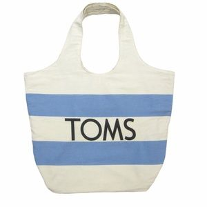 Toms Lightweight Canvas Hobo Tote Bag Natural Blue